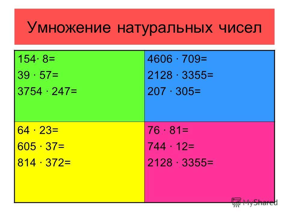 Умножение натуральных чисел 154· 8= 39 · 57= 3754 · 247= 4606 · 709= 2128 · 3355= 207 · 305= 64 · 23= 605 · 37= 814 · 372= 76 · 81= 744 · 12= 2128 · 3355=