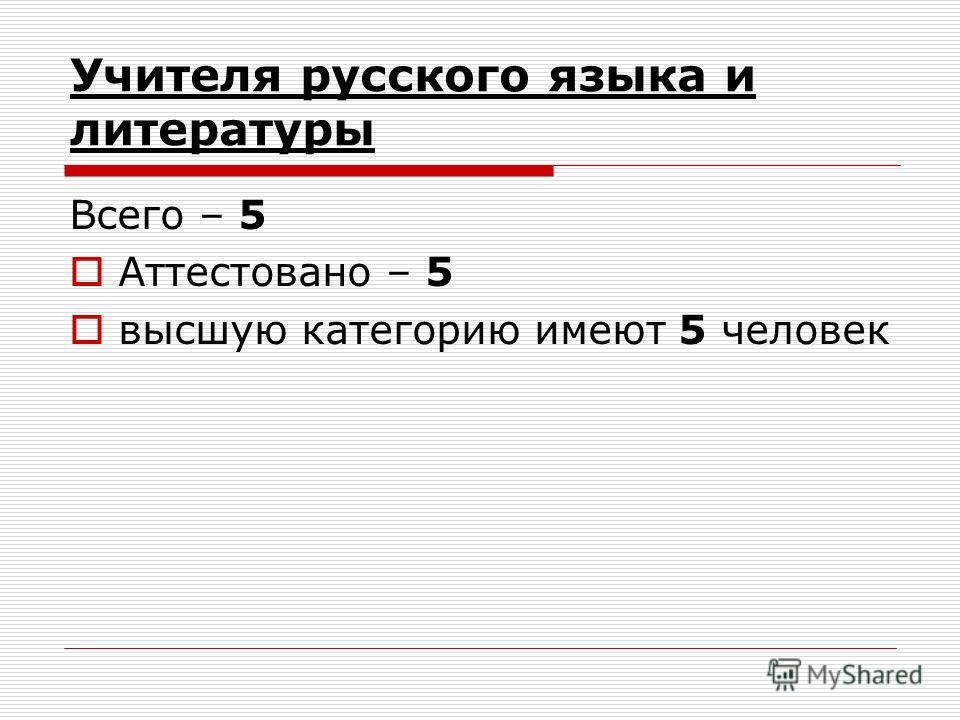 Учителя русского языка и литературы Всего – 5 Аттестовано – 5 высшую категорию имеют 5 человек