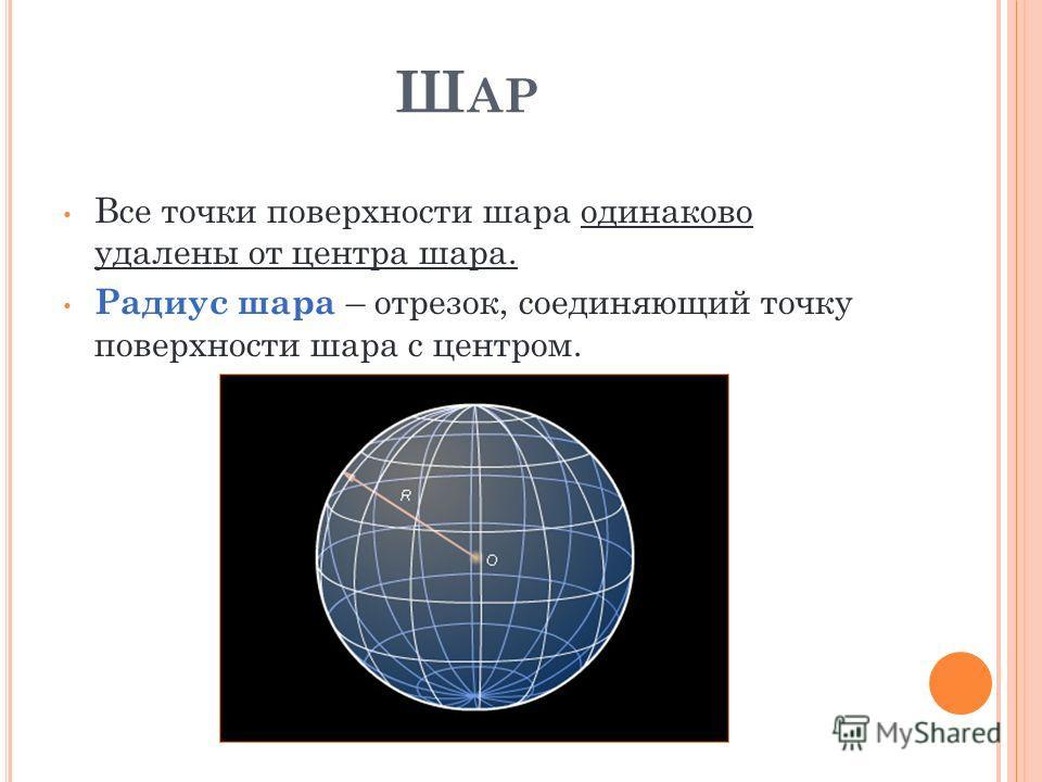 Ш АР Все точки поверхности шара одинаково удалены от центра шара. Радиус шара – отрезок, соединяющий точку поверхности шара с центром.