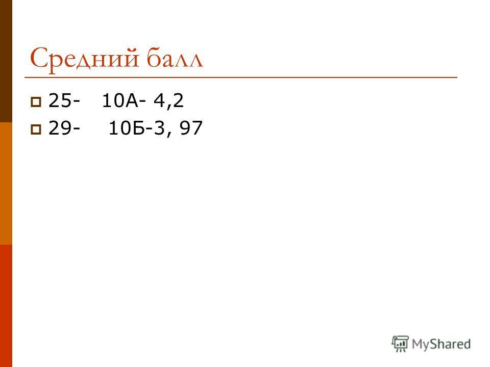 Средний балл 25- 10А- 4,2 29- 10Б-3, 97