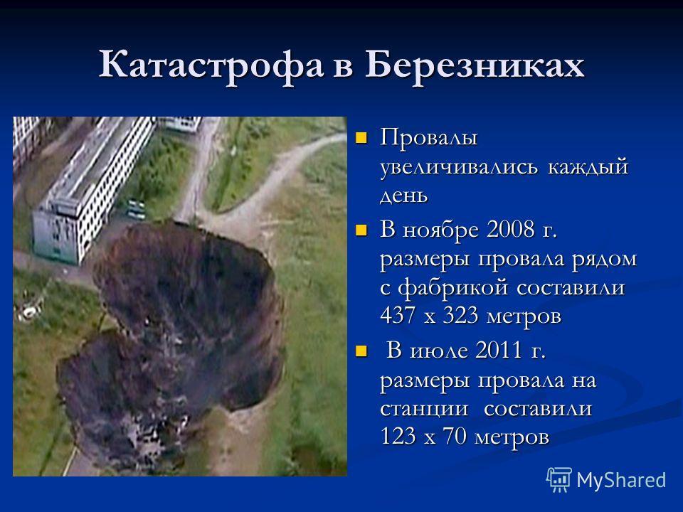 Катастрофа в Березниках Провалы увеличивались каждый день В ноябре 2008 г. размеры провала рядом с фабрикой составили 437 х 323 метров В июле 2011 г. размеры провала на станции составили 123 х 70 метров