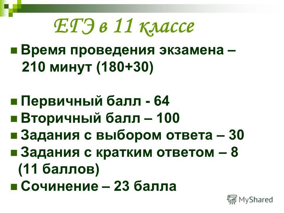 ЕГЭ в 11 классе Время проведения экзамена – 210 минут (180+30) Первичный балл - 64 Вторичный балл – 100 Задания с выбором ответа – 30 Задания с кратким ответом – 8 (11 баллов) Сочинение – 23 балла