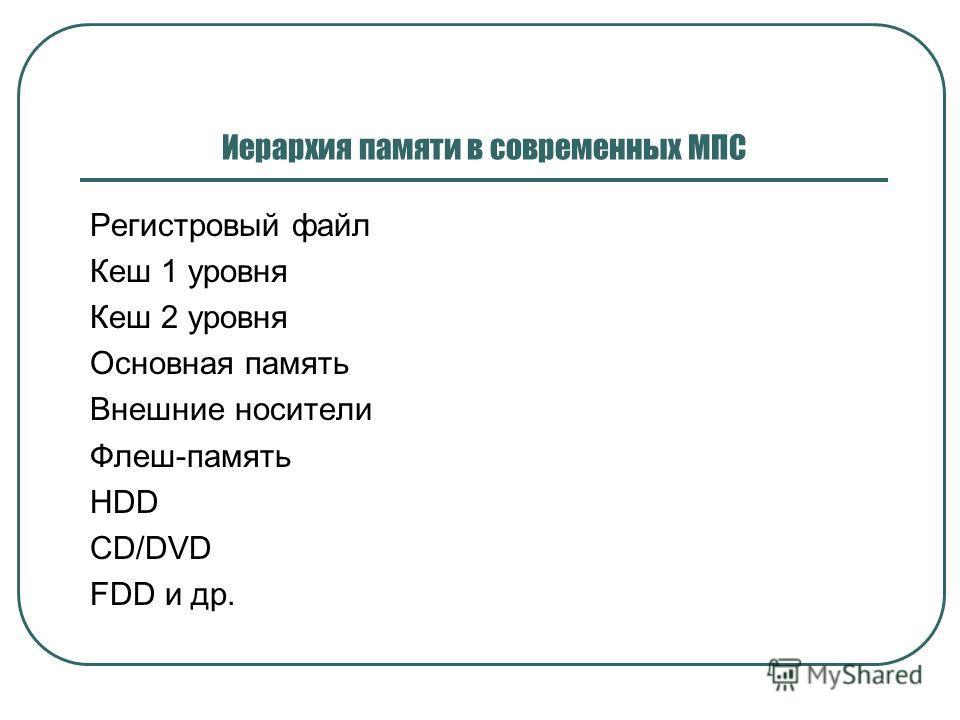 Иерархия памяти в современных МПС Регистровый файл Кеш 1 уровня Кеш 2 уровня Основная память Внешние носители Флеш-память HDD CD/DVD FDD и др.