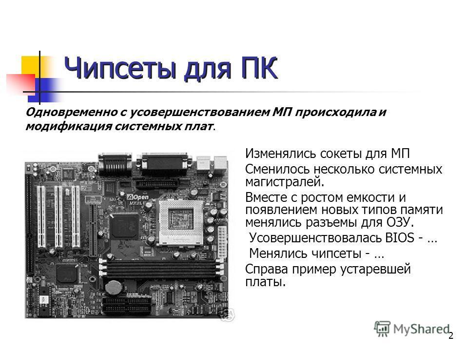 2 Чипсеты для ПК Изменялись cокеты для МП Сменилось несколько системных магистралей. Вместе с ростом емкости и появлением новых типов памяти менялись разъемы для ОЗУ. Усовершенствовалась BIOS - … Менялись чипсеты - … Справа пример устаревшей платы. О