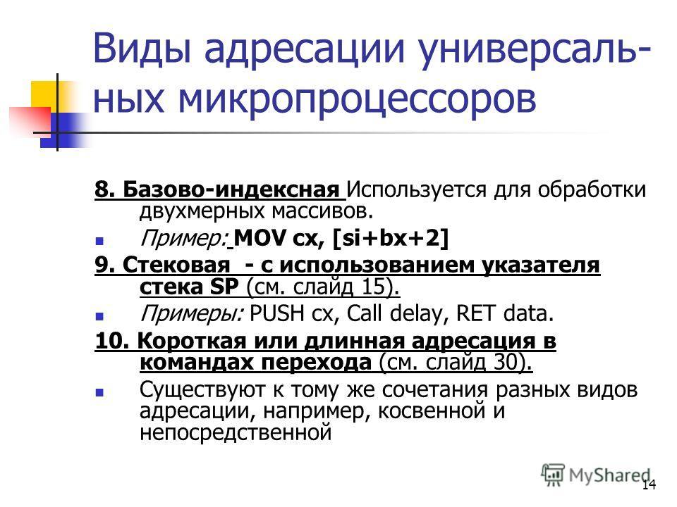 14 Виды адресации универсаль- ных микропроцессоров 8. Базово-индексная Используется для обработки двухмерных массивов. Пример: MOV cx, [si+bx+2] 9. Стековая - с использованием указателя стека SP (см. слайд 15). Примеры: PUSH cx, Call delay, RET data.
