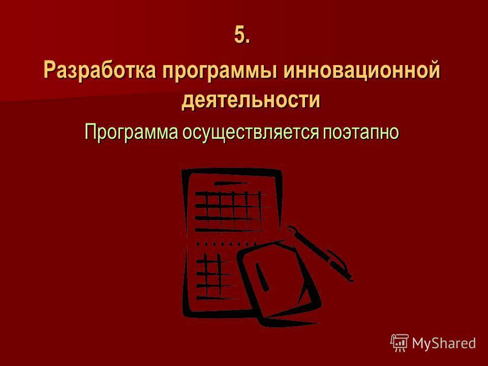 5. Разработка программы инновационной деятельности Программа осуществляется поэтапно