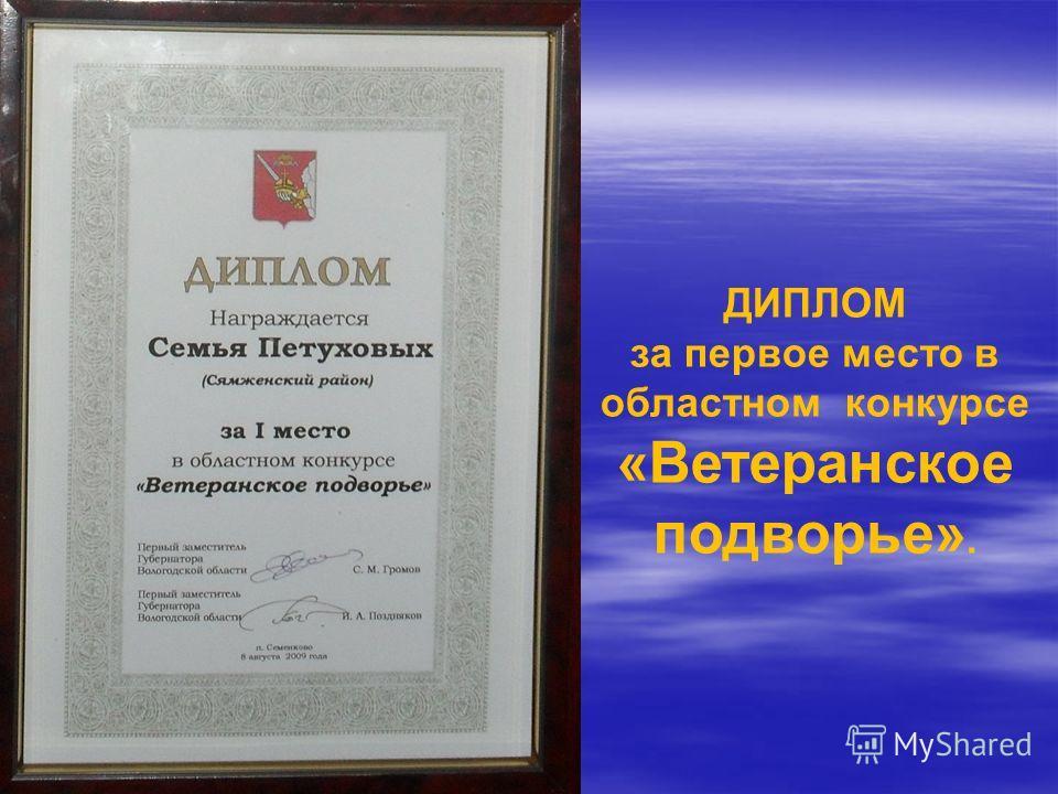 ДИПЛОМ за первое место в областном конкурсе «Ветеранское подворье».