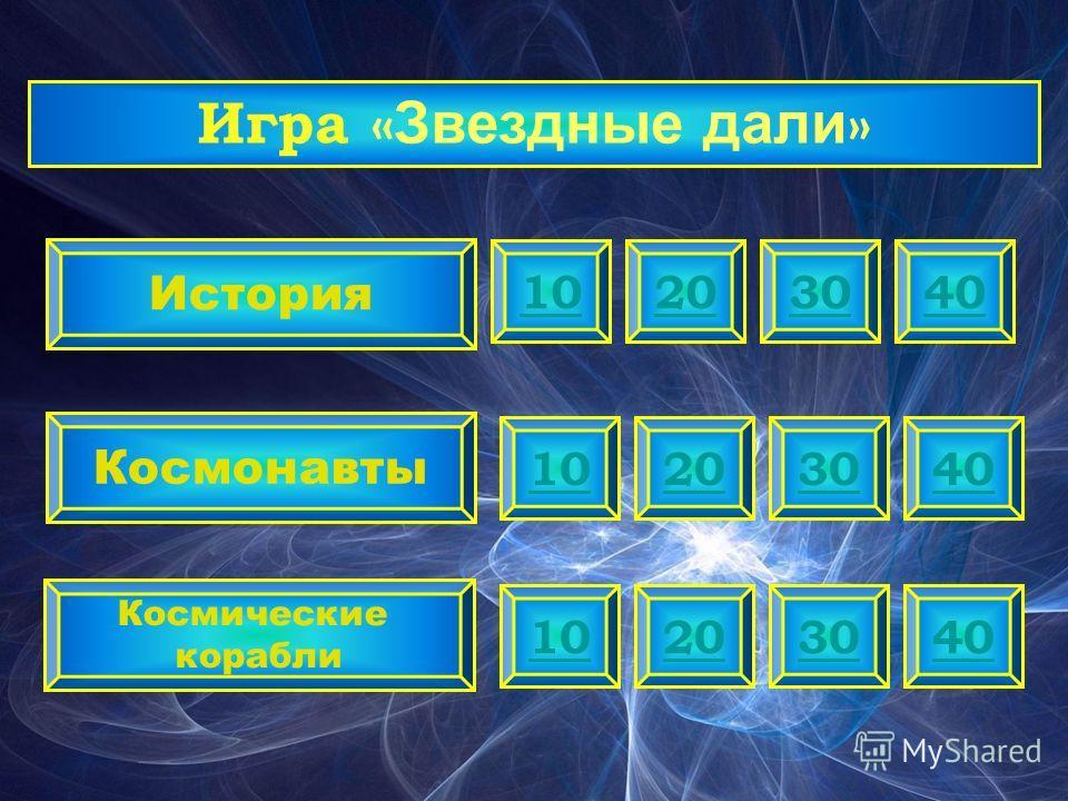 20 История Космонавты Космические корабли 103040 20103040 20103040 Игра « Звездные дали »