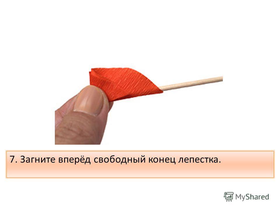 7. Загните вперёд свободный конец лепестка.