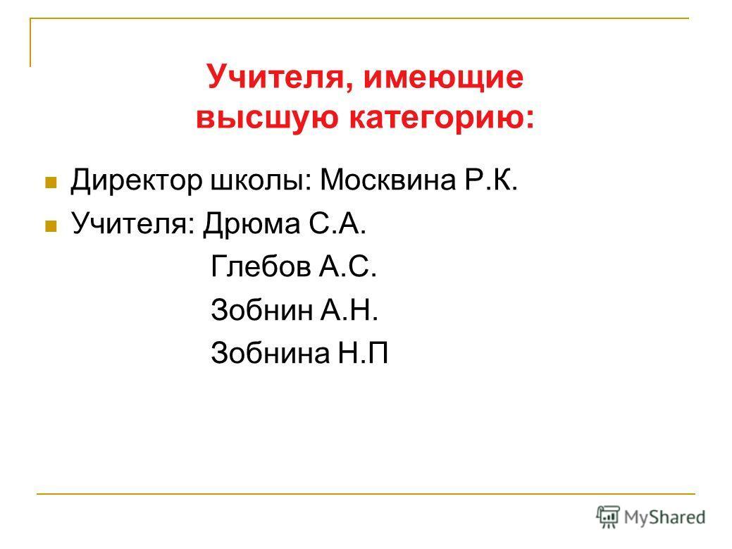 Учителя, имеющие высшую категорию: Директор школы: Москвина Р.К. Учителя: Дрюма С.А. Глебов А.С. Зобнин А.Н. Зобнина Н.П