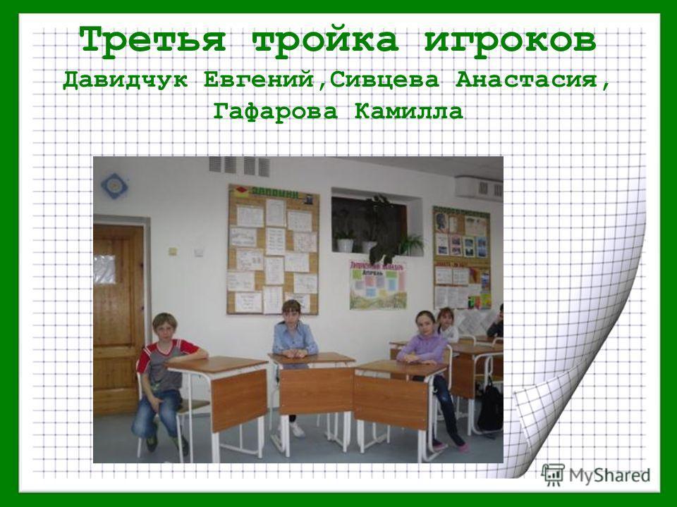 Третья тройка игроков Давидчук Евгений,Сивцева Анастасия, Гафарова Камилла