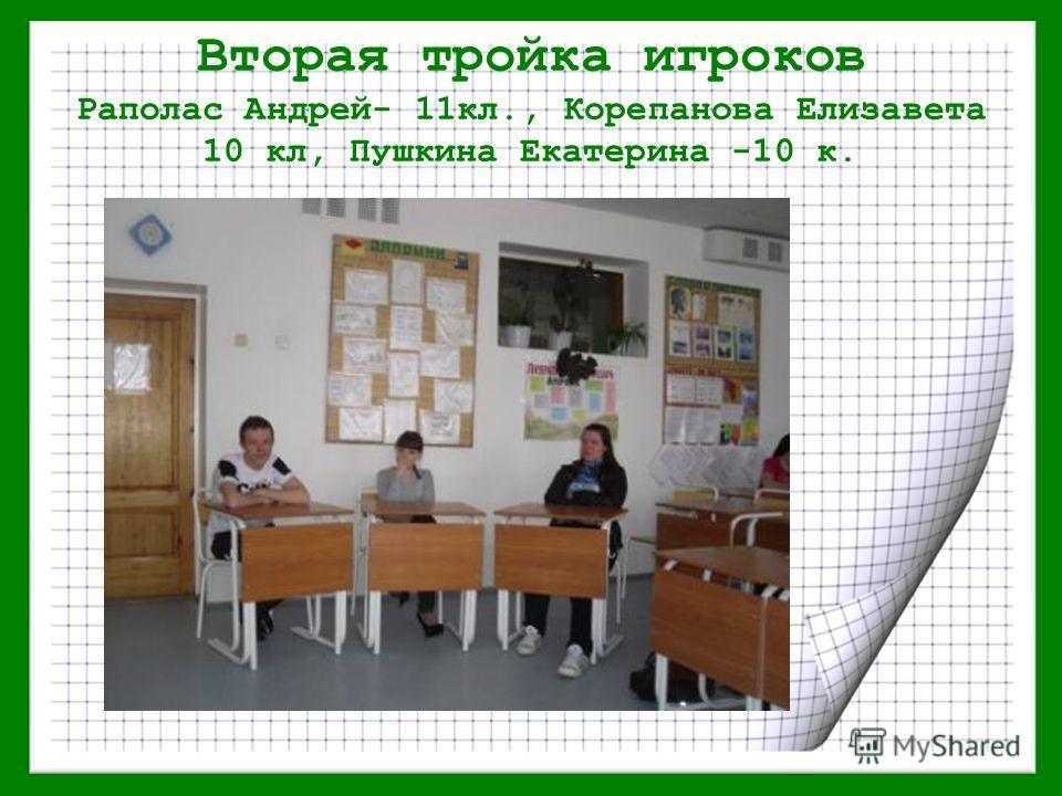 Вторая тройка игроков Раполас Андрей- 11кл., Корепанова Елизавета 10 кл, Пушкина Екатерина -10 к.