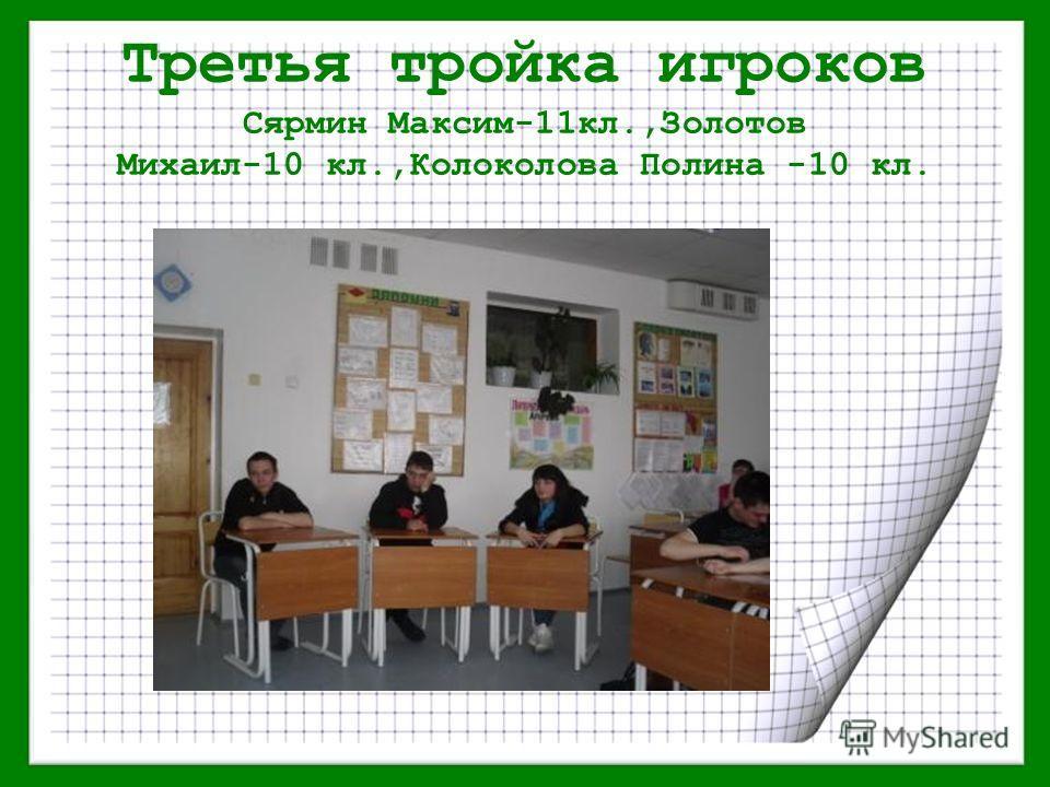Третья тройка игроков Сярмин Максим-11кл.,Золотов Михаил-10 кл.,Колоколова Полина -10 кл.