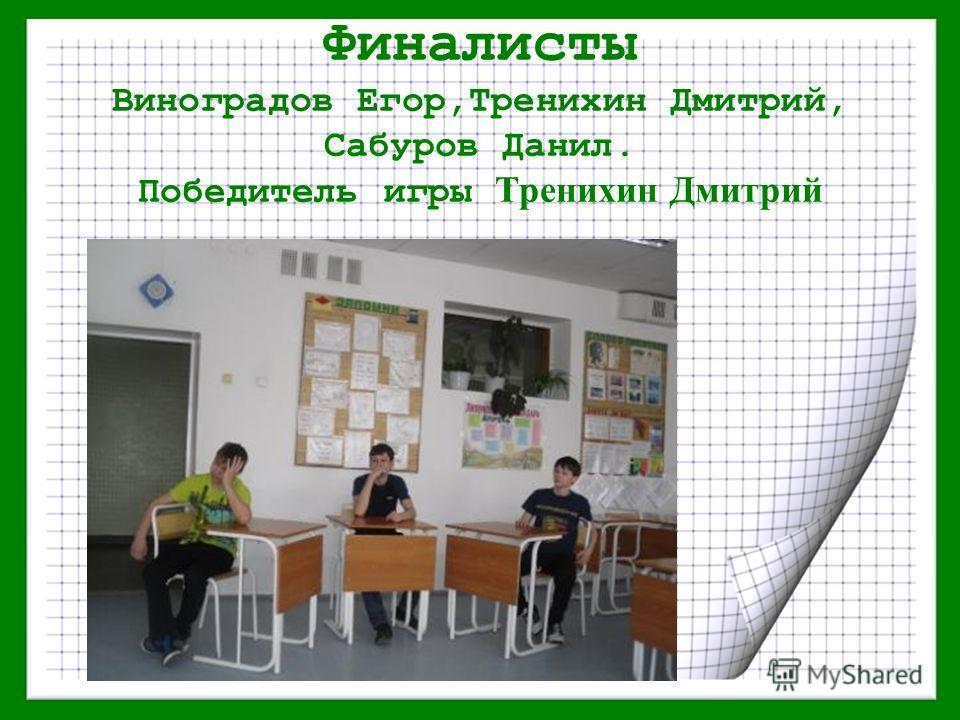 Финалисты Виноградов Егор,Тренихин Дмитрий, Сабуров Данил. Победитель игры Тренихин Дмитрий
