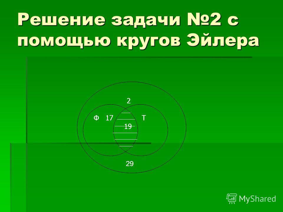 Решение задачи 2 с помощью кругов Эйлера 2 Т 19 Ф 17 29