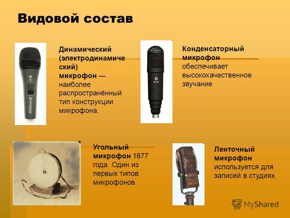 Видовой состав Динамический (электродинамиче ский) микрофон наиболее распространённый тип конструкции микрофона. Конденсаторный микрофон обеспечивает высококачественное звучание Угольный микрофон 1877 года. Один из первых типов микрофонов. Ленточный