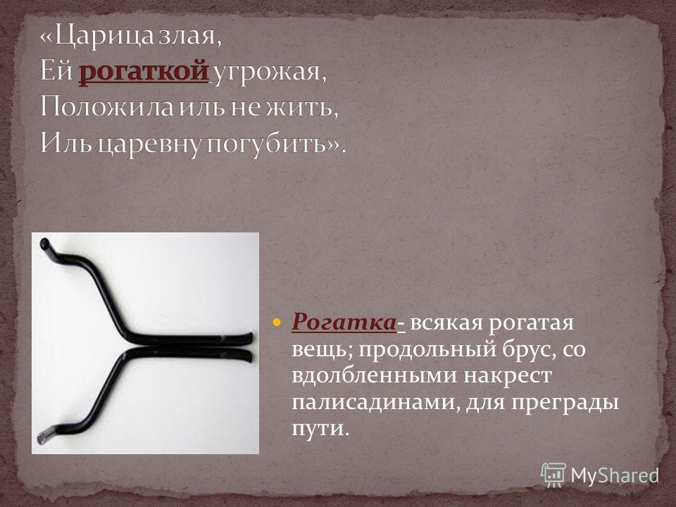 Рогатка- всякая рогатая вещь; продольный брус, со вдолбленными накрест палисадинами, для преграды пути.
