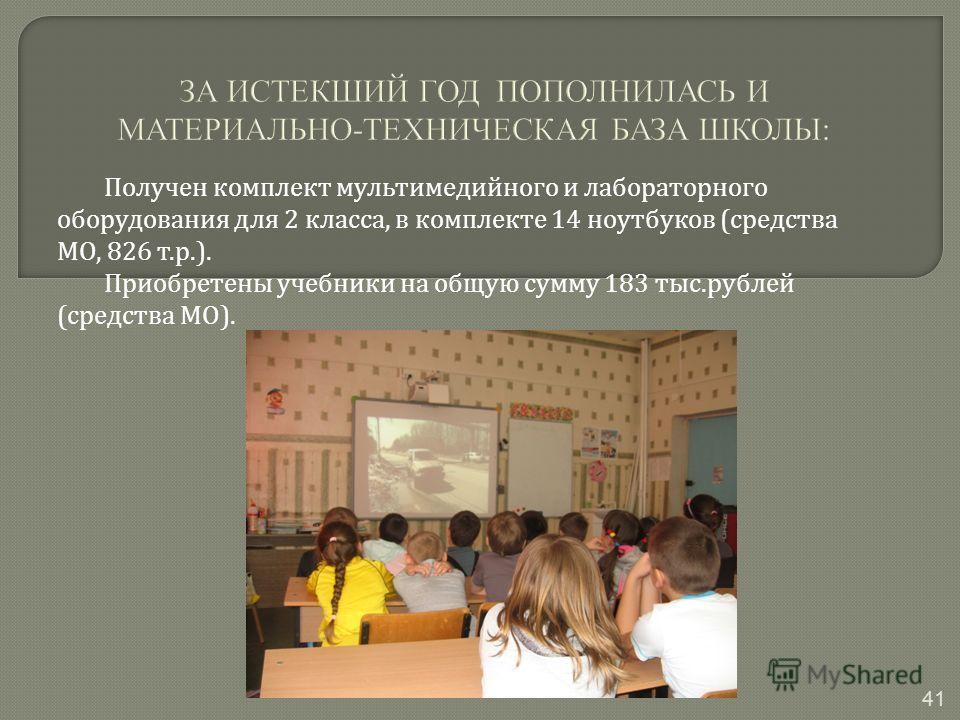Получен комплект мультимедийного и лабораторного оборудования для 2 класса, в комплекте 14 ноутбуков ( средства МО, 826 т. р.). Приобретены учебники на общую сумму 183 тыс. рублей ( средства МО ). 41