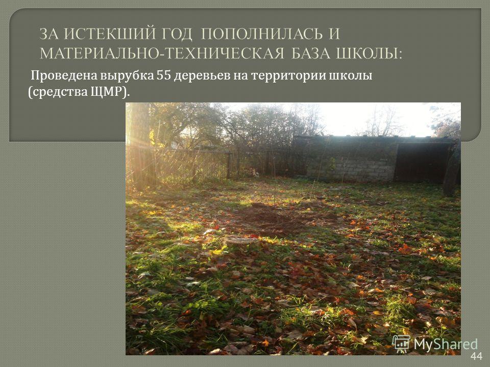 Проведена вырубка 55 деревьев на территории школы ( средства ЩМР ). 44