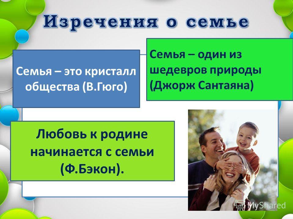 Семья – это кристалл общества (В.Гюго) Семья – один из шедевров природы (Джорж Сантаяна) Любовь к родине начинается с семьи (Ф.Бэкон).