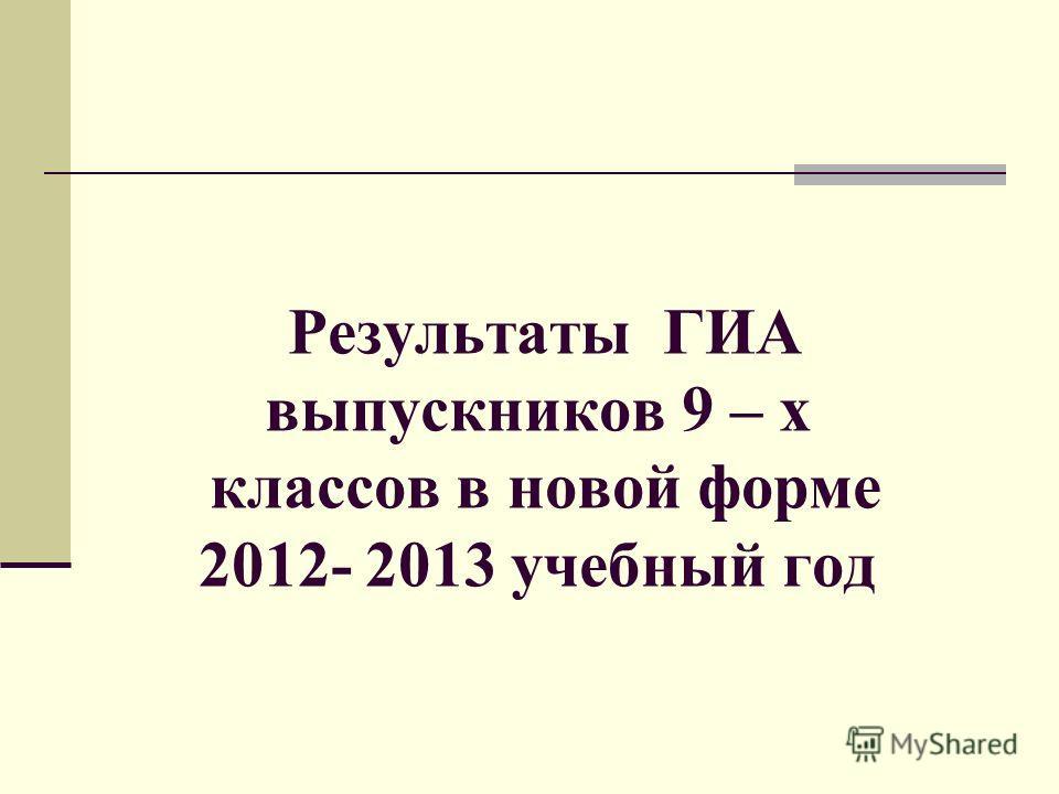 Результаты ГИА выпускников 9 – х классов в новой форме 2012- 2013 учебный год
