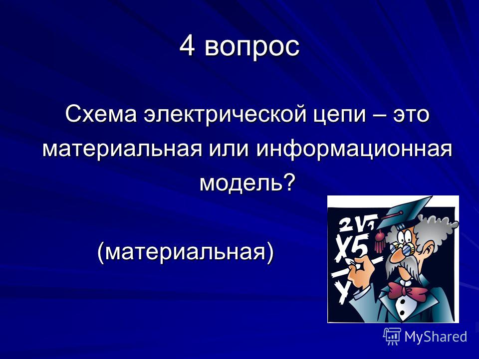 4 вопрос Схема электрической цепи – это материальная или информационная модель? (материальная) (материальная)