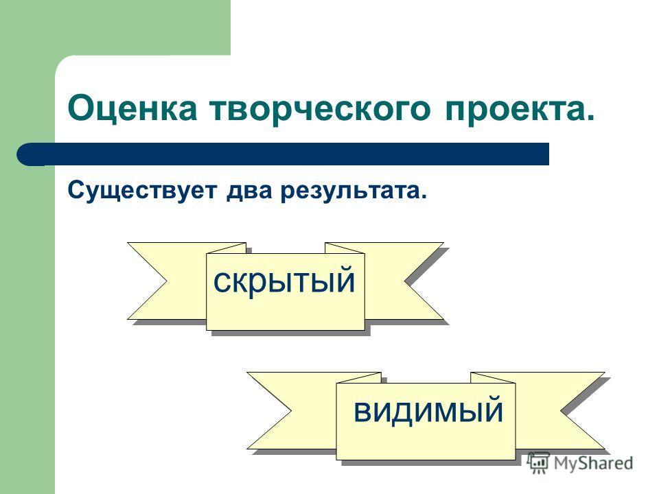 Оценка творческого проекта. Существует два результата. скрытый видимый