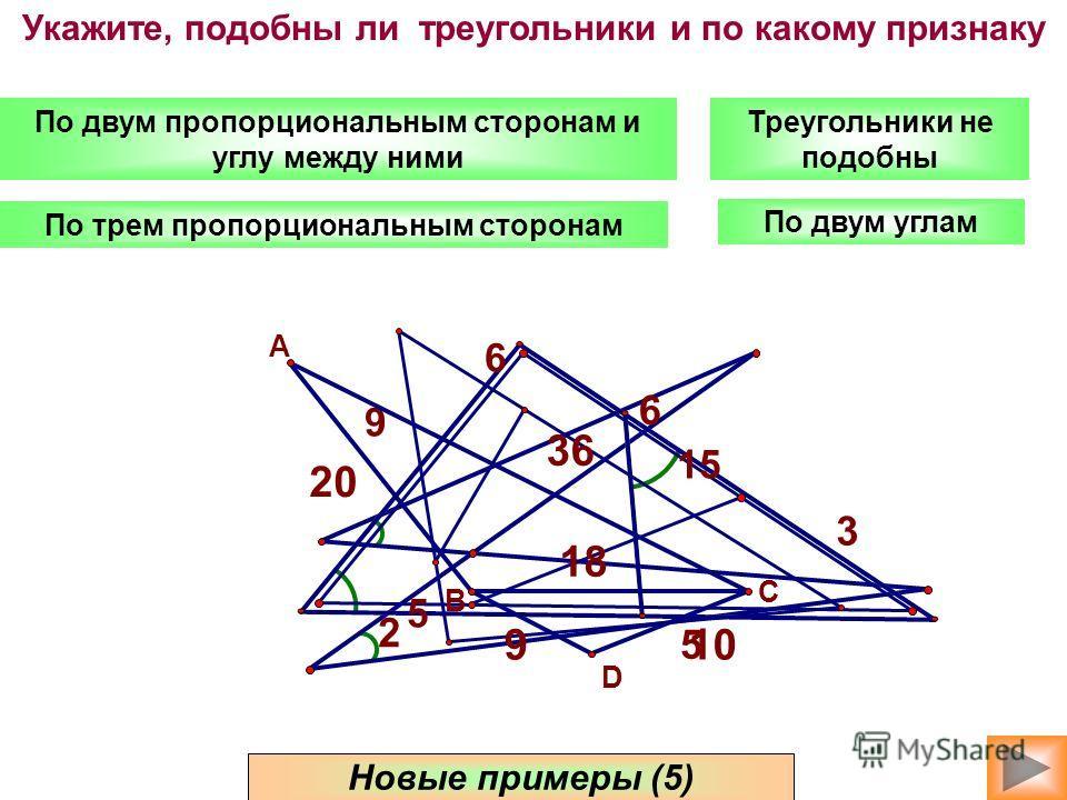 По двум углам По двум пропорциональным сторонам и углу между ними По трем пропорциональным сторонам Новые примеры (5) Треугольники не подобны Укажите, подобны ли треугольники и по какому признаку 2 6 5 3 15 6 5 9 36 18 10 20 9 A C B D