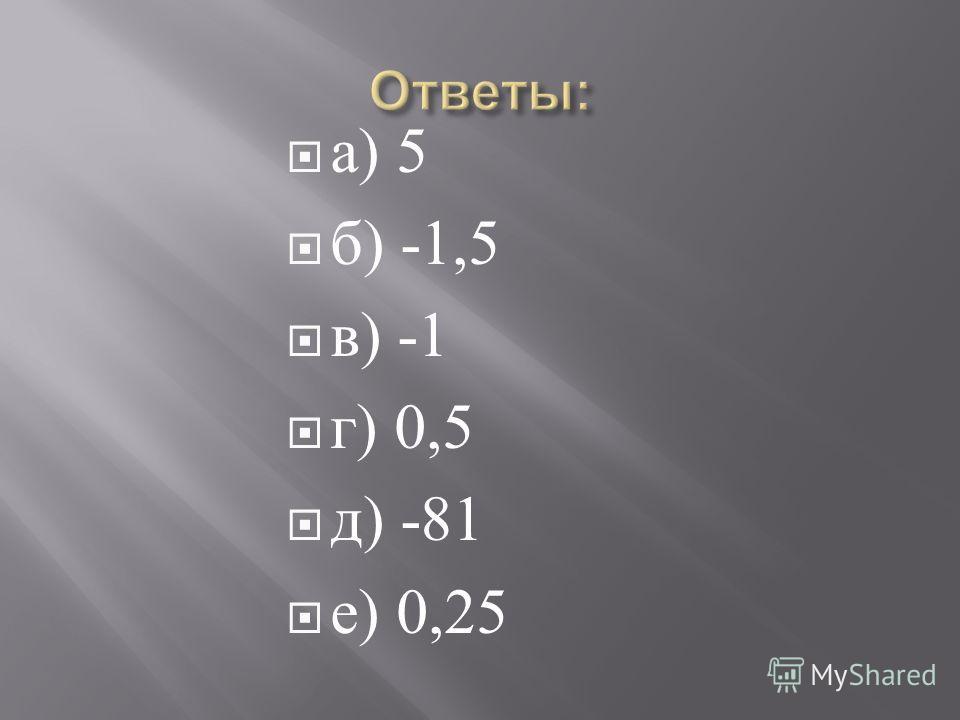 а ) 5 б ) -1,5 в ) -1 г ) 0,5 д ) -81 е ) 0,25