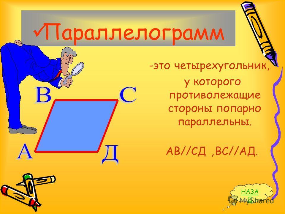 Параллелограмм -это четырехугольник, у которого противолежащие стороны попарно параллельны. АВ//СД,ВС//АД. НАЗА Д
