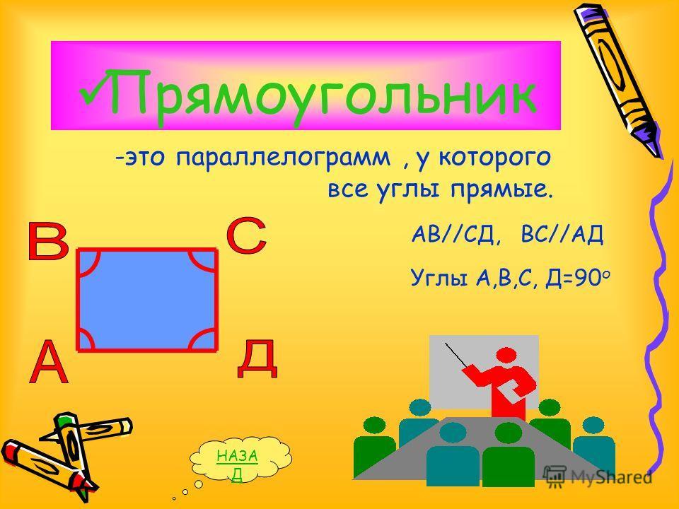 Прямоугольник -это параллелограмм, у которого все углы прямые. НАЗА Д Углы А,В,С, Д=90 о АВ//СД,ВС//АД