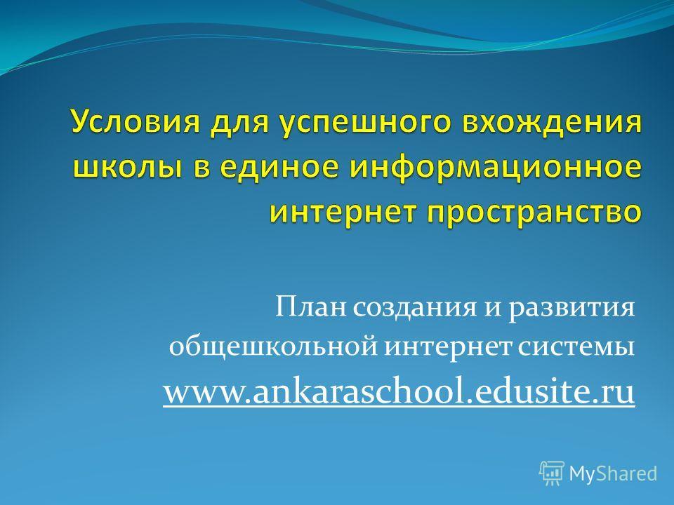 План создания и развития общешкольной интернет системы www.ankaraschool.edusite.ru