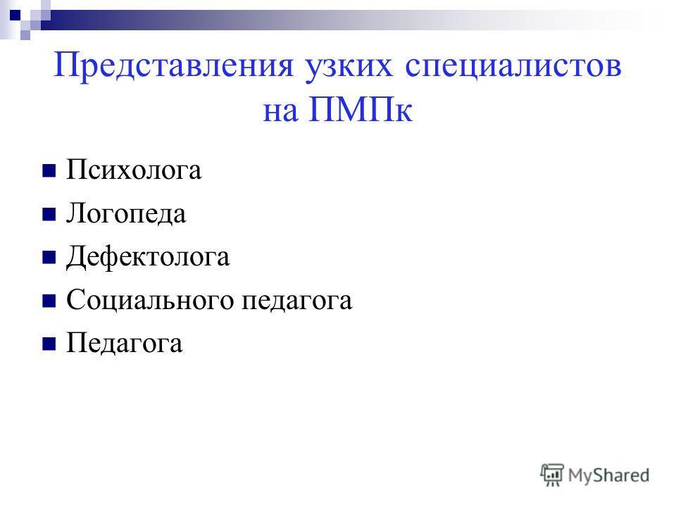 Представления узких специалистов на ПМПк Психолога Логопеда Дефектолога Социального педагога Педагога