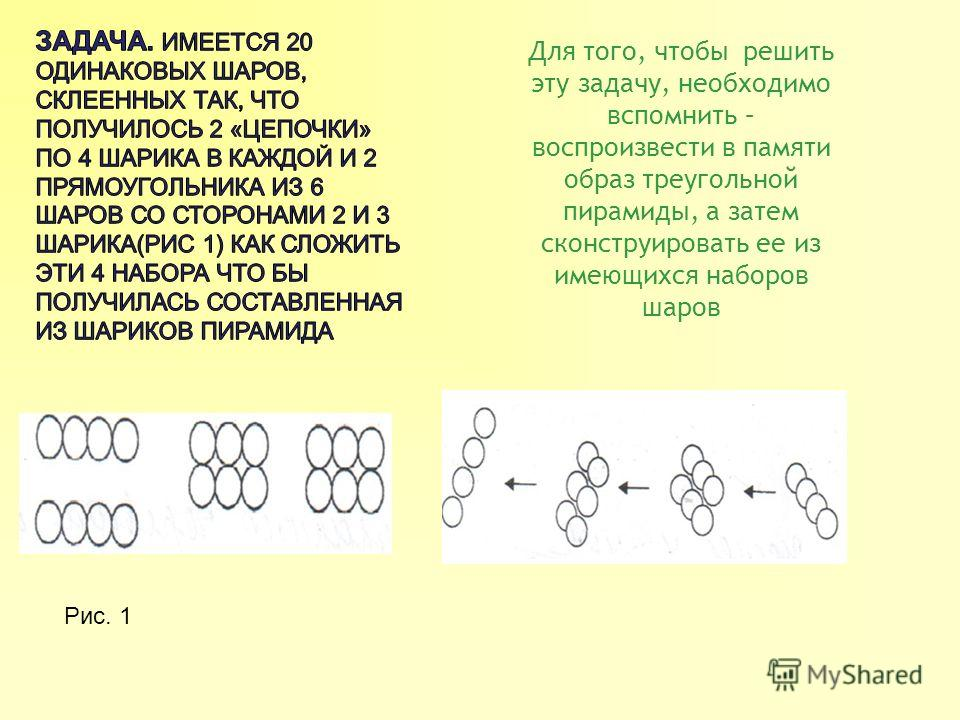 Для того, чтобы решить эту задачу, необходимо вспомнить – воспроизвести в памяти образ треугольной пирамиды, а затем сконструировать ее из имеющихся наборов шаров Рис. 1