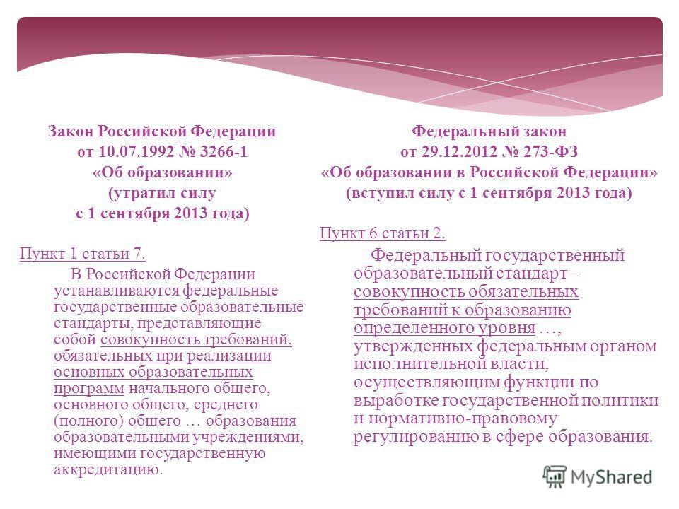 Закон Российской Федерации от 10.07.1992 3266-1 «Об образовании» (утратил силу с 1 сентября 2013 года) Пункт 1 статьи 7. В Российской Федерации устанавливаются федеральные государственные образовательные стандарты, представляющие собой совокупность т