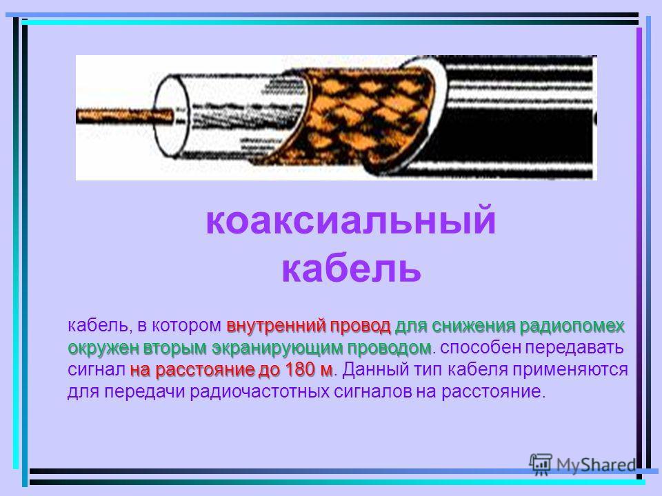 коаксиальный кабель внутренний провод для снижения радиопомех окружен вторым экранирующим проводом на расстояние до 180 м кабель, в котором внутренний провод для снижения радиопомех окружен вторым экранирующим проводом. способен передавать сигнал на