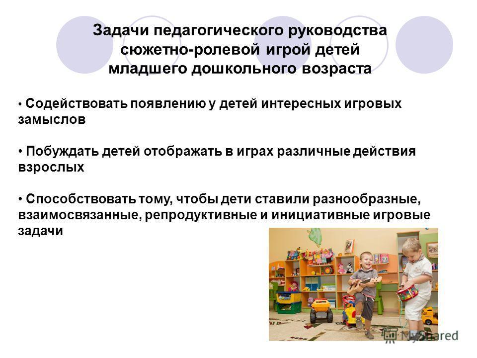 Задачи педагогического руководства сюжетно-ролевой игрой детей младшего дошкольного возраста Содействовать появлению у детей интересных игровых замыслов Побуждать детей отображать в играх различные действия взрослых Способствовать тому, чтобы дети ст