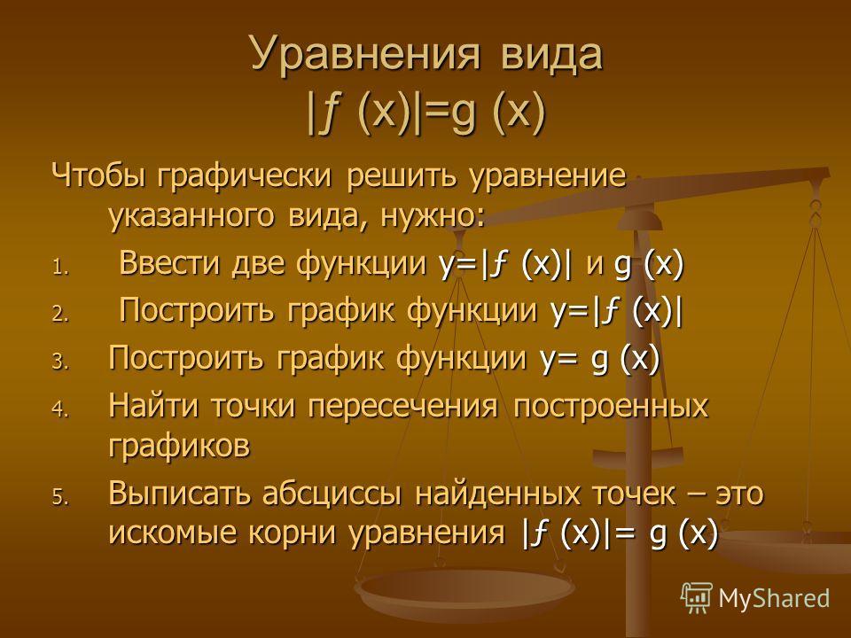 Уравнения вида |ƒ (x)|=g (x) Чтобы графически решить уравнение указанного вида, нужно: 1. Ввести две функции y=|ƒ (x)| и g (x) 2. Построить график функции y=|ƒ (x)| 3. Построить график функции y= g (x) 4. Найти точки пересечения построенных графиков