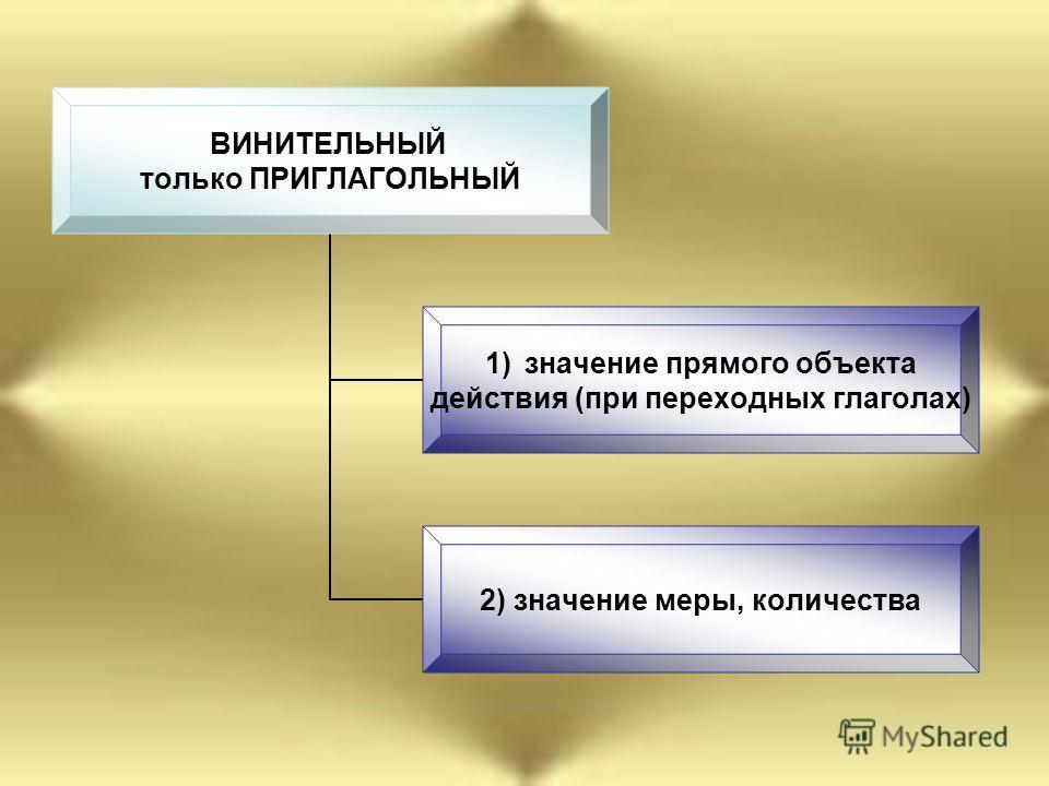 ВИНИТЕЛЬНЫЙ только ПРИГЛАГОЛЬНЫЙ 1)значение прямого объекта действия (при переходных глаголах) 2) значение меры, количества