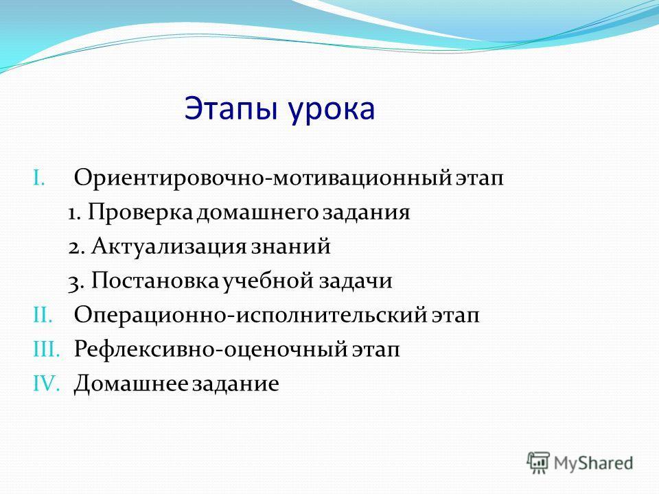 Этапы урока I. Ориентировочно-мотивационный этап 1. Проверка домашнего задания 2. Актуализация знаний 3. Постановка учебной задачи II. Операционно-исполнительский этап III. Рефлексивно-оценочный этап IV. Домашнее задание