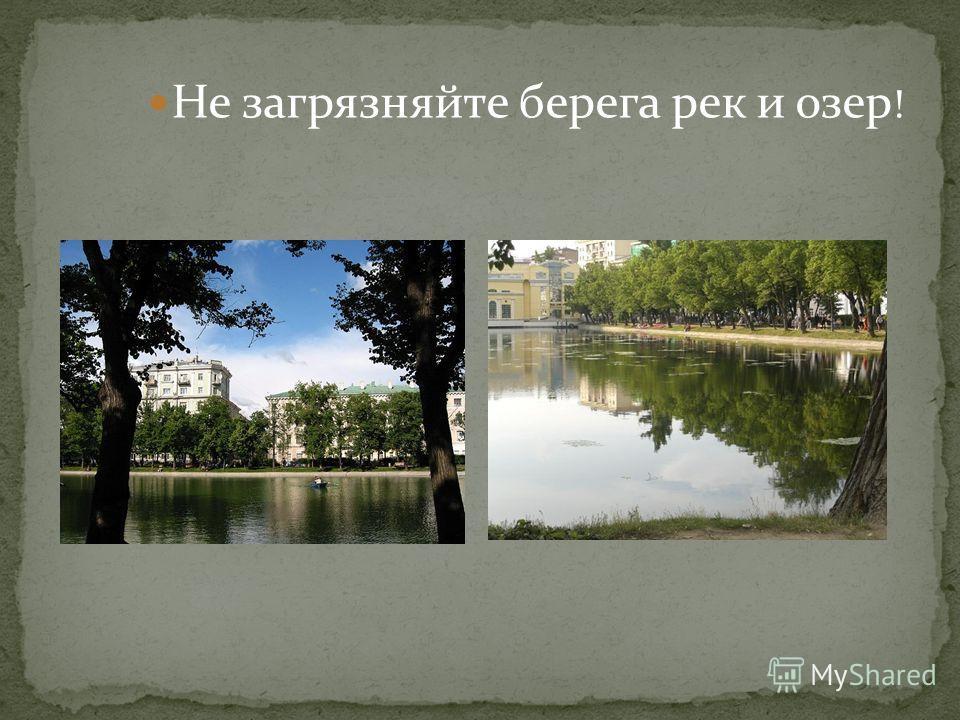 Не загрязняйте берега рек и озер !