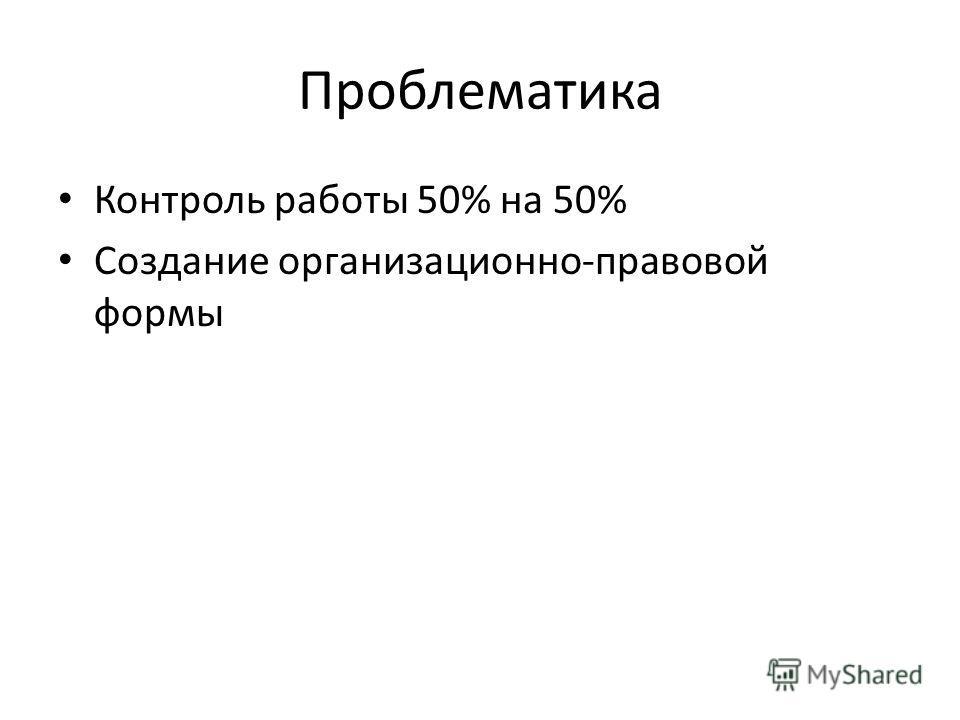 Проблематика Контроль работы 50% на 50% Создание организационно-правовой формы