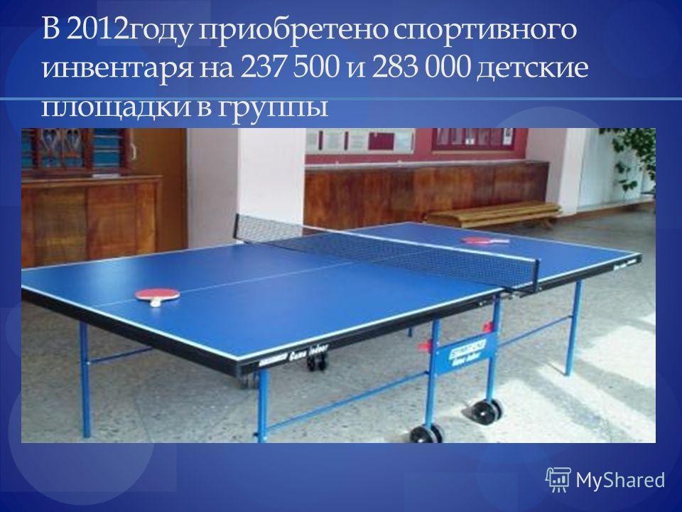 В 2012году приобретено спортивного инвентаря на 237 500 и 283 000 детские площадки в группы