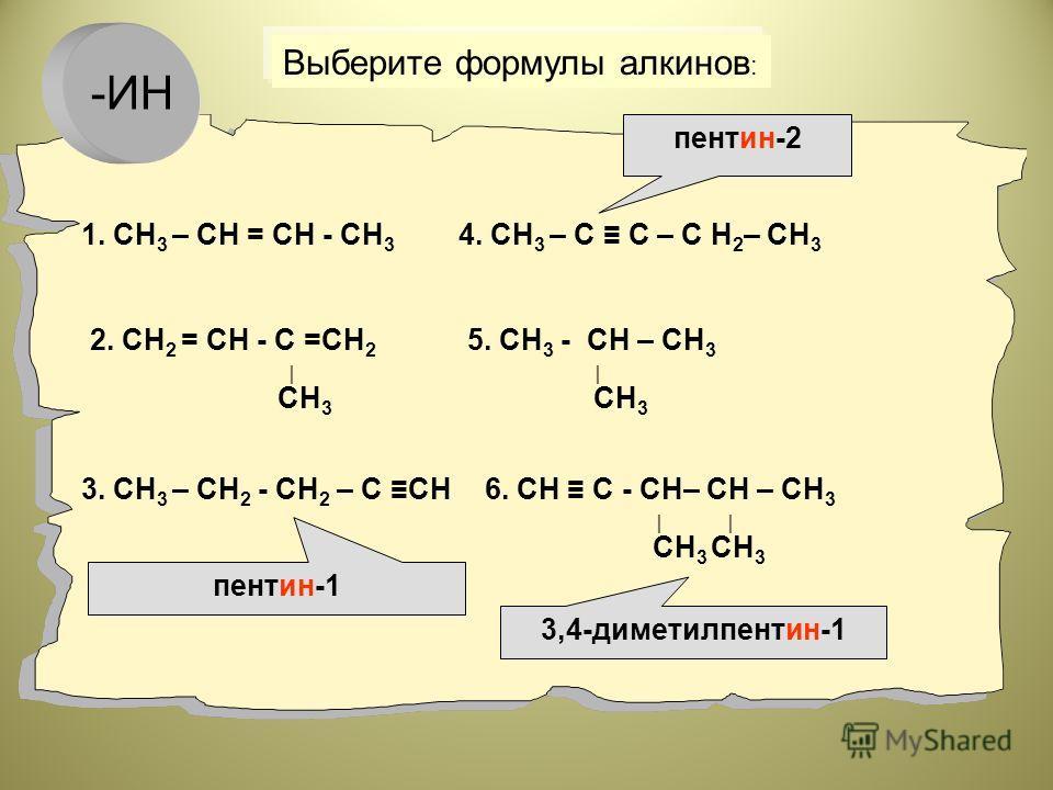 1. СН 3 – СН = СН - СН 3 2. СН 2 = СН - С =СН 2 СН 3 3. СН 3 – СН 2 - СН 2 – С СН 4. СН 3 – С С – С Н 2 – СН 3 5. СН 3 - СН – СН 3 СН 3 6. СН С - СН– СН – СН 3 СН 3 СН 3 Выберите формулы алкинов : пентин-2 3,4-диметилпентин-1 пентин-1 -ИН