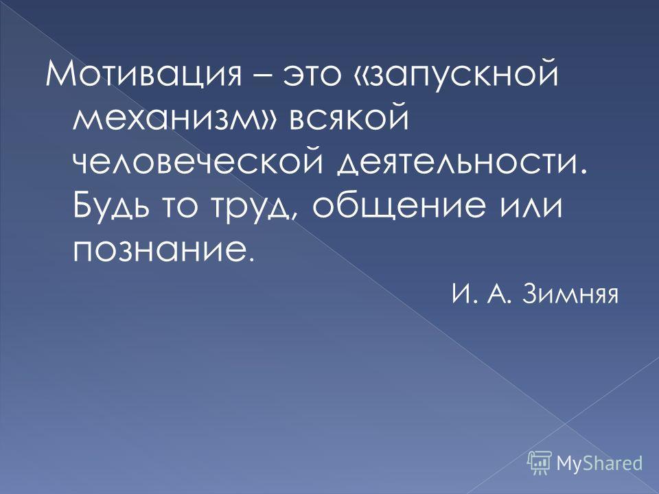 Мотивация – это «запускной механизм» всякой человеческой деятельности. Будь то труд, общение или познание. И. А. Зимняя
