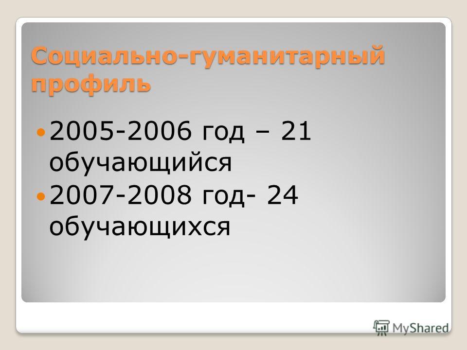 Социально-гуманитарный профиль 2005-2006 год – 21 обучающийся 2007-2008 год- 24 обучающихся
