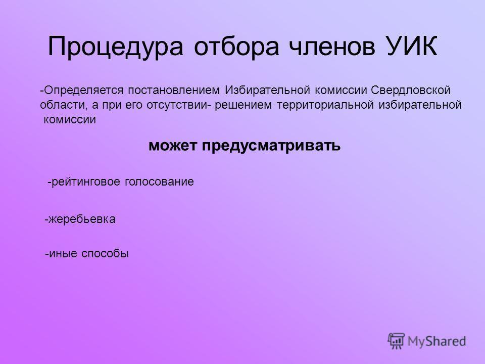 Процедура отбора членов УИК -Определяется постановлением Избирательной комиссии Свердловской области, а при его отсутствии- решением территориальной избирательной комиссии может предусматривать -рейтинговое голосование -жеребьевка -иные способы