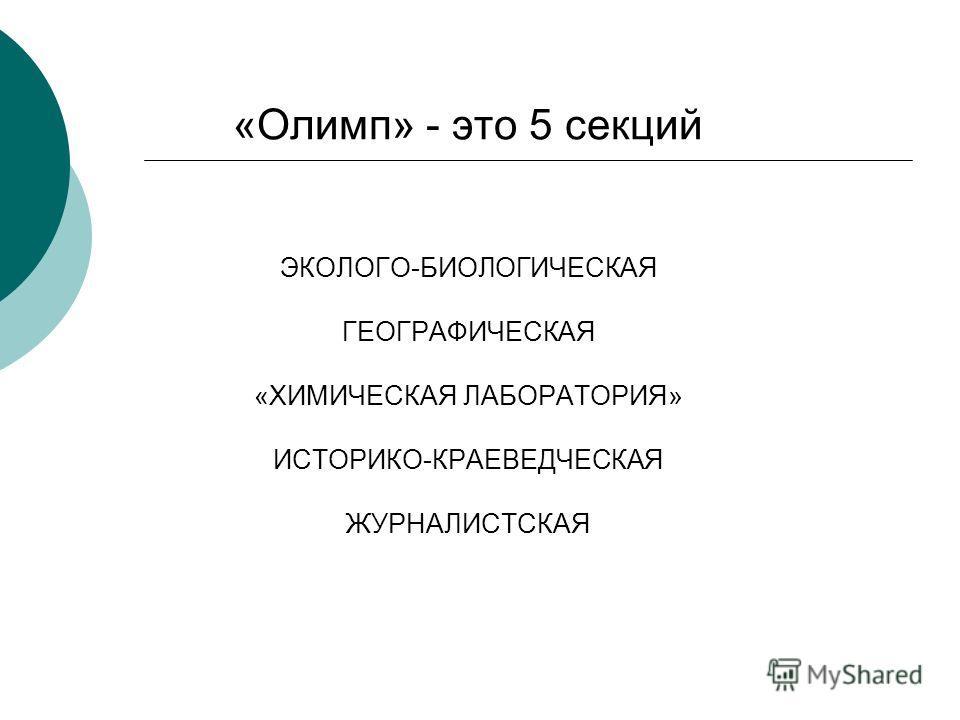 «Олимп» - это 5 секций ЭКОЛОГО-БИОЛОГИЧЕСКАЯ ГЕОГРАФИЧЕСКАЯ «ХИМИЧЕСКАЯ ЛАБОРАТОРИЯ» ИСТОРИКО-КРАЕВЕДЧЕСКАЯ ЖУРНАЛИСТСКАЯ
