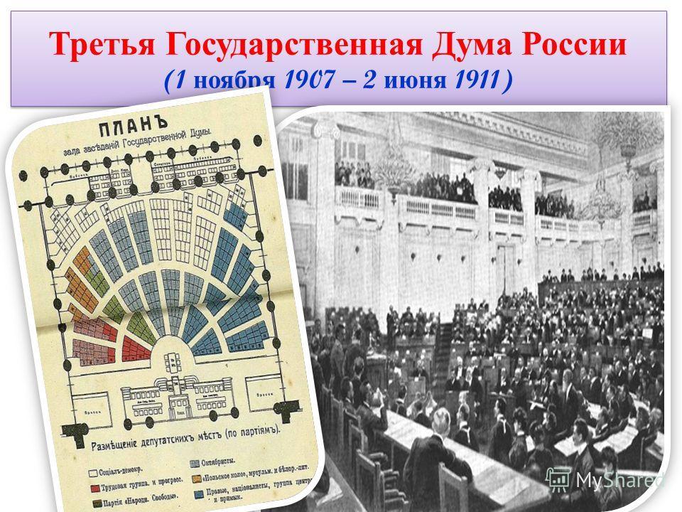 Третья Государственная Дума России (1 ноября 1907 – 2 июня 1911)
