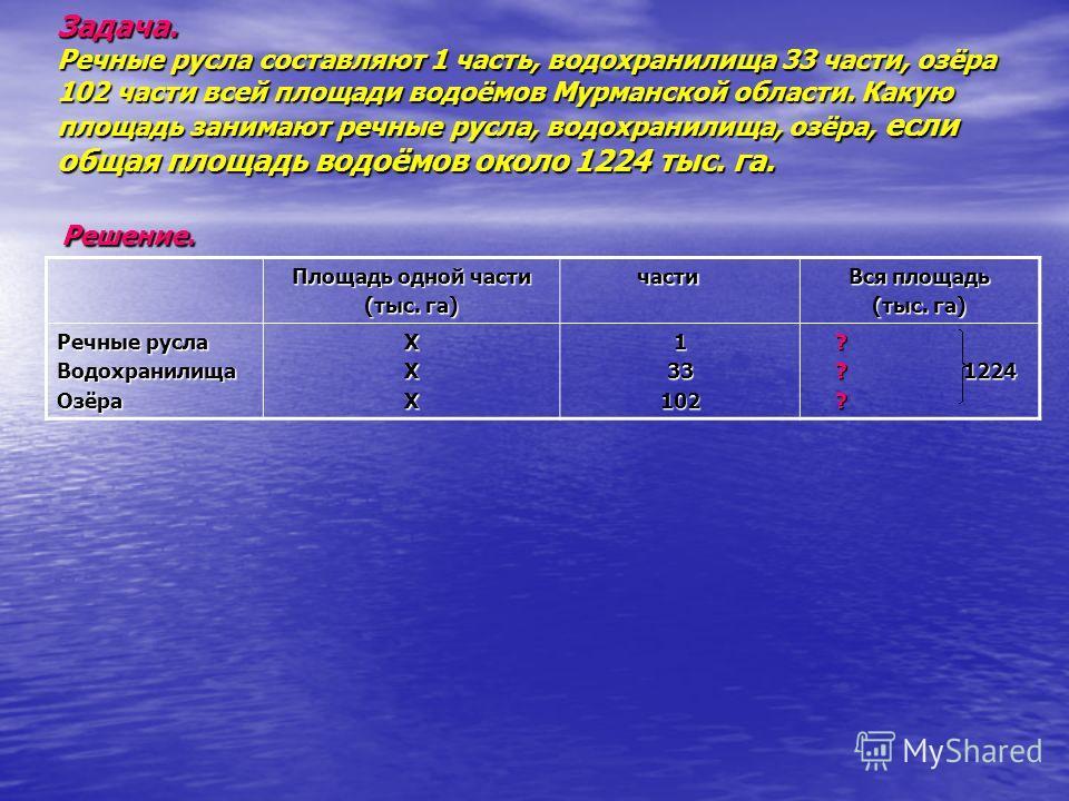 Задача. Речные русла составляют 1 часть, водохранилища 33 части, озёра 102 части всей площади водоёмов Мурманской области. Какую площадь занимают речные русла, водохранилища, озёра, если общая площадь водоёмов около 1224 тыс. га. Решение. Площадь одн